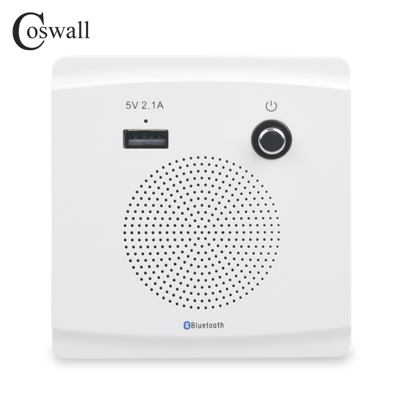 COSWALL Wall Embedded Wireless Bluetooth Speaker With USB Charger Port For Mobile 5V 2.1A Power Output With LED Indicator