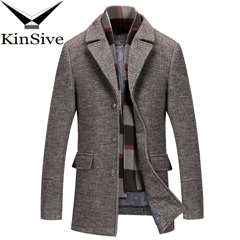 Mens Wool Business Long Casual Suits Single-breasted Trench Coats Tailored Fit