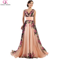 Luxury Freeshipping Stock Floor Length Chiffon Prom Dress Long Colorful Flower Pattern Celebrity Dress Formal Evening