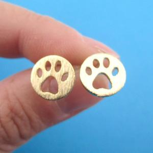 Dog Paw Stud Earrings Print Dye Cut Coin Shaped Animal Earrings For Women