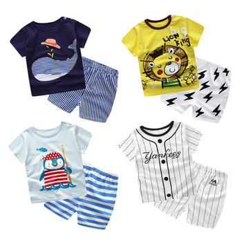 Baby Boy Clothes 2018 Summer Brand Infant Clothing Cartoon Short Sleeved T-shirts Tops +Pants Cotton Kids Bebes Jogging Suits