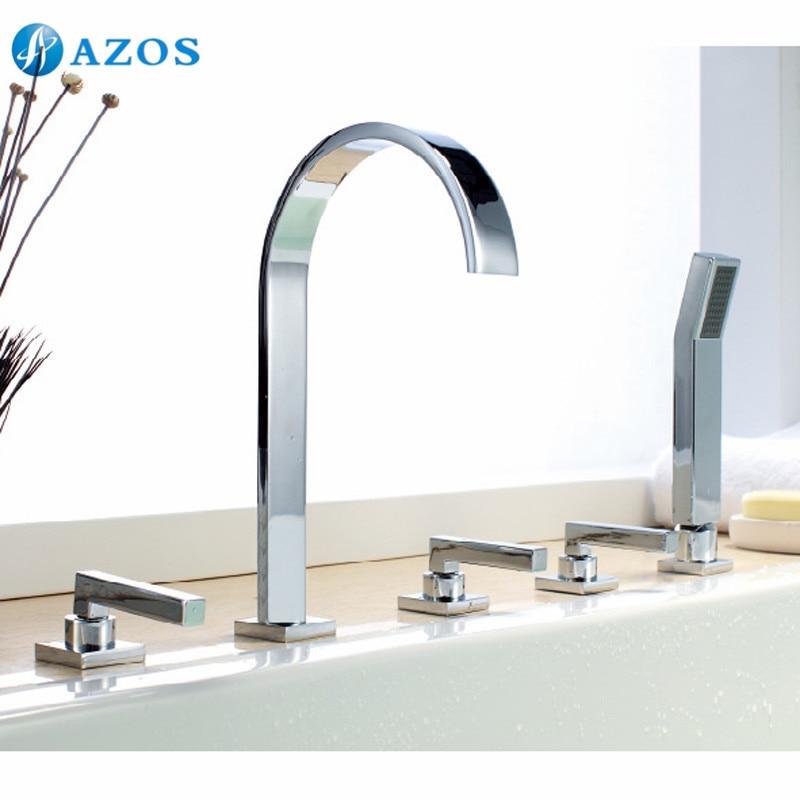 Bathtub Shower Faucets Chrome Polish Bathroom Suana 5pc Sets Showerhead,Diverter,Two Handles,Shower Hose,Waterfall Spout YGWJ058