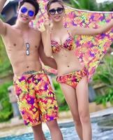 Couples Swimwear Three Pieces Bikini Sets with Covers Up Man's beach shorts Lover's Print Floral Swimsuit Sexy Bikini Set