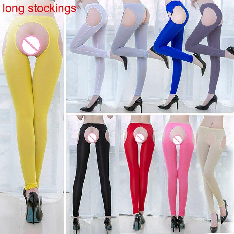 Women Ice Silk Shiny Open Crotch Long Sheer Pants See Through Elastic Leggings Shiny Beauty Leg Sexy Knee-Length Leggings