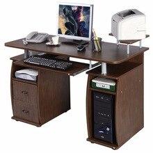 Goplus компьютер PC Рабочий стол рабочая станция Office для дома Мониторы и принтер полки Мебель современная офисная с 2 ящиками hw49511