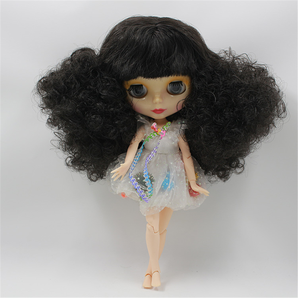 Blyth Nude Doll Black Wild Curl-Up With Bangs Joint Body 4 Colors Big Eyes Suitable DIY makeup doll toysBlyth Nude Doll Black Wild Curl-Up With Bangs Joint Body 4 Colors Big Eyes Suitable DIY makeup doll toys