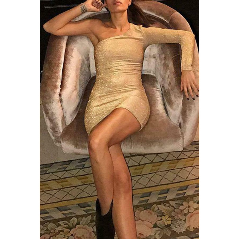 <font><b>Sexy</b></font> Women <font><b>Gold</b></font> Sequined Glitter Single One Shoulder Long Sleeve Bodycon Evening Party Mini <font><b>Dresses</b></font> image