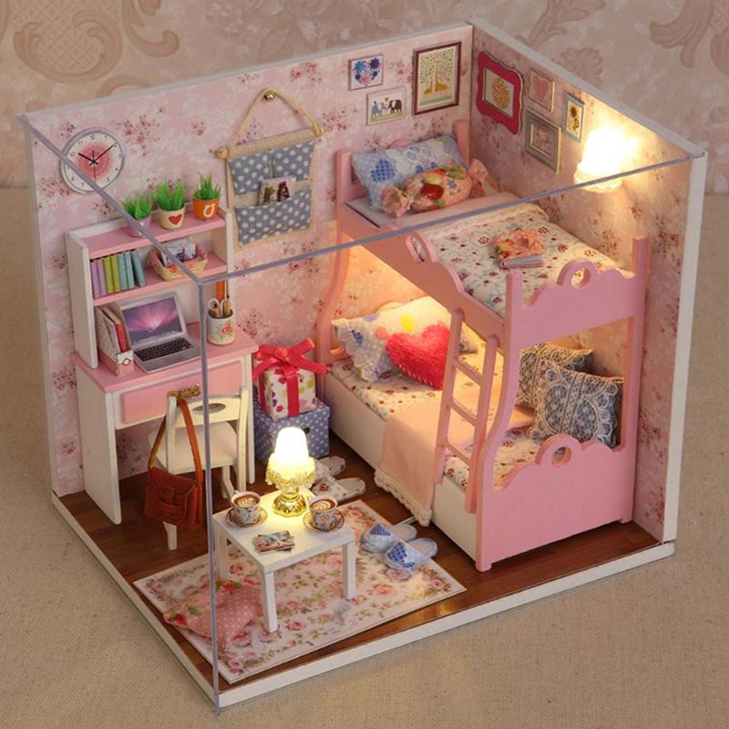 Handmade Doll House Furniture Kit DIY Mini Dollhouse Wooden Toy Manual Creative Model Building Toys For Children Birthday GiftsHandmade Doll House Furniture Kit DIY Mini Dollhouse Wooden Toy Manual Creative Model Building Toys For Children Birthday Gifts
