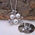 Encanto de la perla de agua dulce con plata de ley 925 collar de cadena de caja para las mujeres gargantilla de joyería fina regalo de Navidad 2016