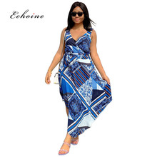 Echoine Maxi Dresses Women Graphic Printed Sash Lace Up Evening Long Robe Vintage Casual Woman Clothes Daily Street Wear Outfits