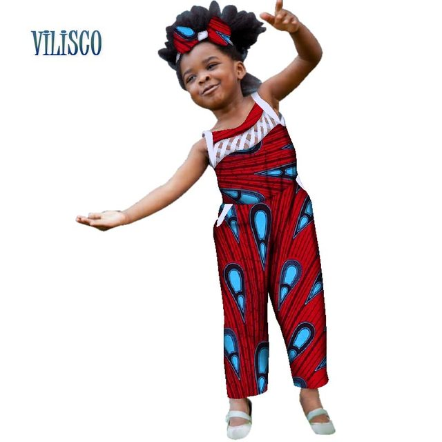 c27d9fe7e8c53 US $38.64 |Summer African Print Jumpsuits with Bow Headtie for Kids Girls  Custom Children Clothes Traditional African Baby Clothing WYT169-in Africa  ...