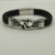 Design clássico ligação de couro tecido pulseira de aço inoxidável 316 nova