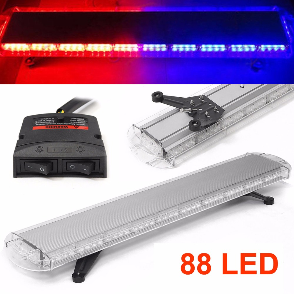 CYAN SOIL BAY 88 LED ROOF TOP WORK LIGHT BAR BEACON SAFETY EMERGENCY WARNING FLASHING STROBE RED & BLUE LAMP 8x4 magnetic 32 led blue red flashing strobe light for roof top plug n play 5pcs
