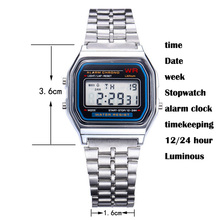 Multifunctional  Digital Wristwatches Men Women Watch Vintage Stainless Steel LED sports watches Stopwatch alarm clock Luminous
