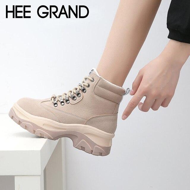 HEE GRAND 2018 Phụ Nữ Mùa Đông Ấm Áp Khởi Động Da Lộn Ren-up Thời Trang Giản Dị Lắc Giày Dép Giày Mujer Booten XWX7091