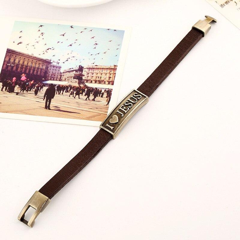 Image 3 - Женский винтажный браслет с надписью ZORCVENS, кожаный браслет с ИисусомБраслеты-манжеты
