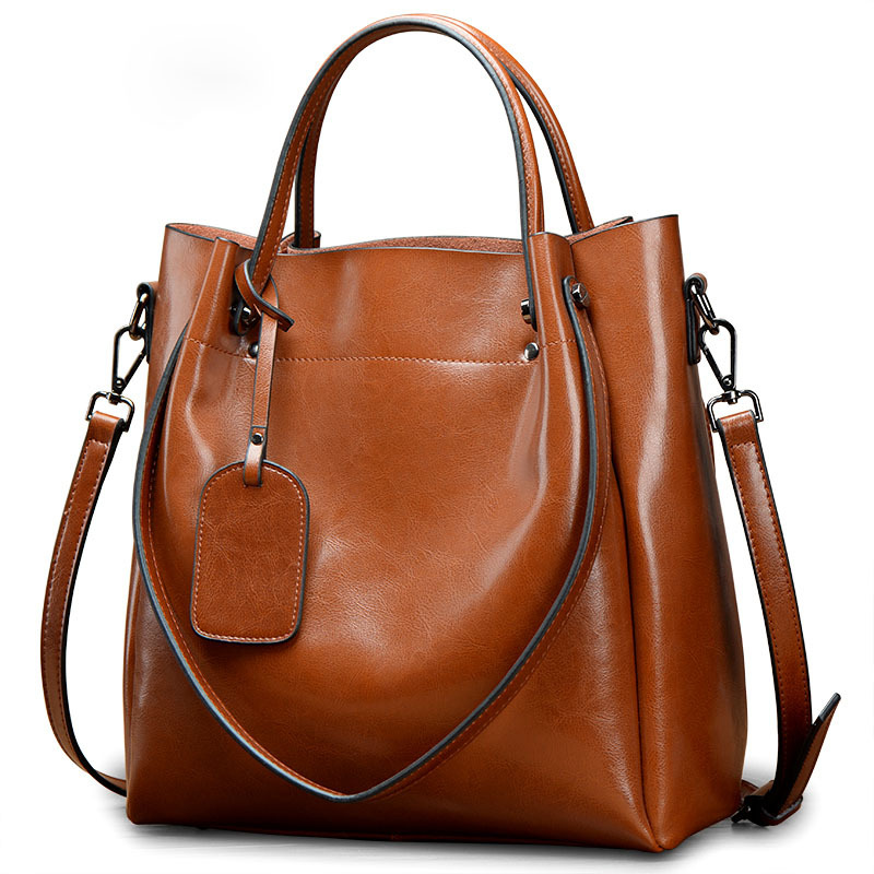 Bags for women 2018 new fashion American leather shoulder Messenger bag lady portable big bag oil wax skin casual handbag HB375 2018 famous brand leather bag for women fashionable new single shoulder skew spanning lady s oil wax revival style handbag
