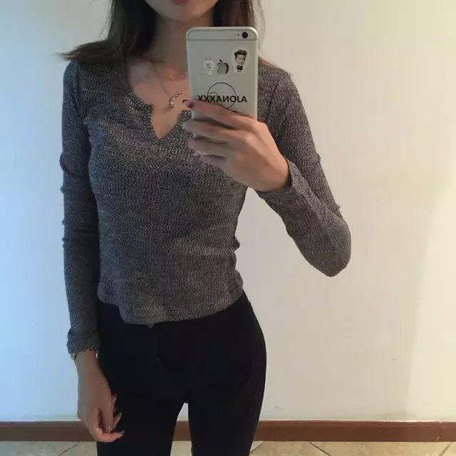 Knitted short Sweaters gray pullovers V-Neck casual stretch fit long Sleeve Brand Lady tops Autumn fashion Women elegant