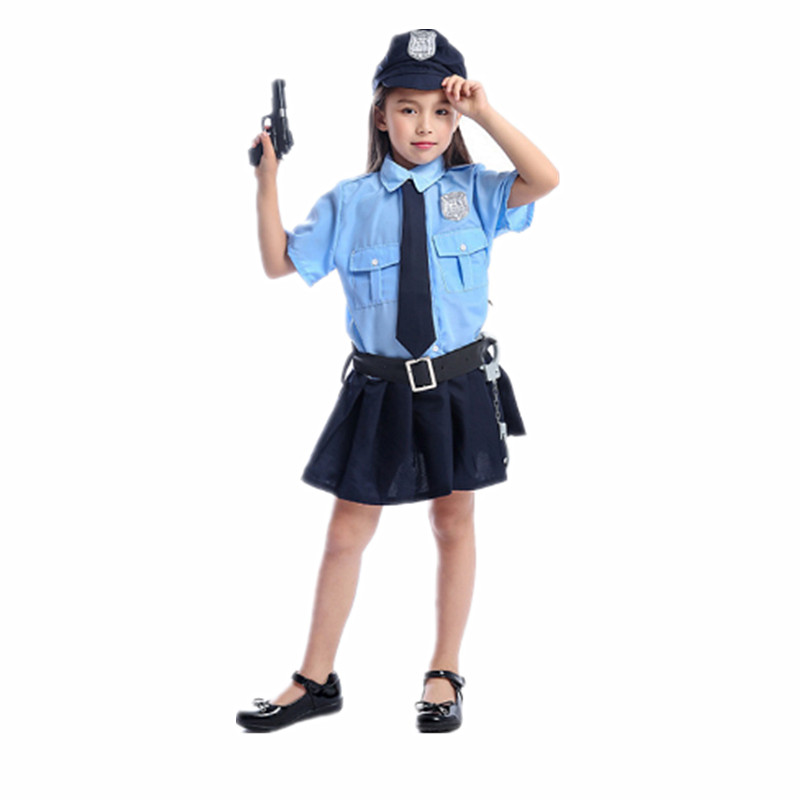 Police Little Girl Role Playing Halloween Costume Game Party Prop Costume