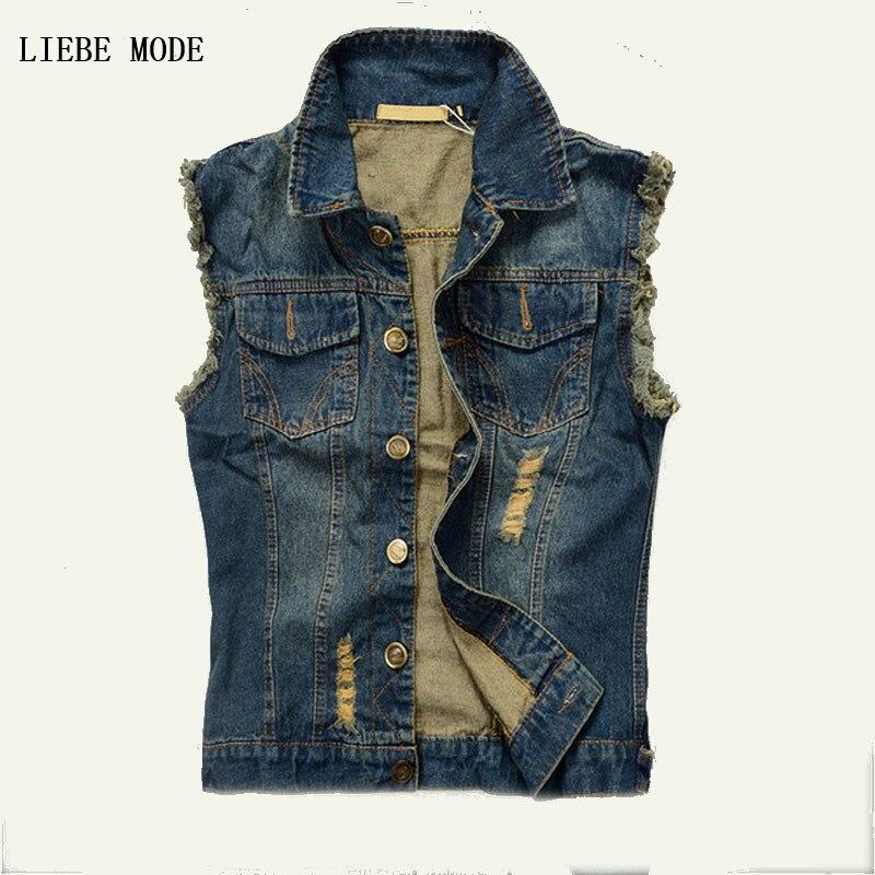 Mens Distressed Denim Waistcoat With Many Pockets 2016 Blue Sleeveless Jeans Denim Jacket Casual Vests For Men Gilet Biker Homme