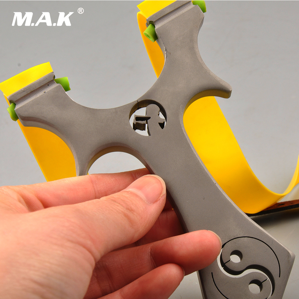 Slingshot of Stainless Steel Matte Surface Taiji Flat skin Unbounded Slingshot for Hunting Shooting Outdoor Archery