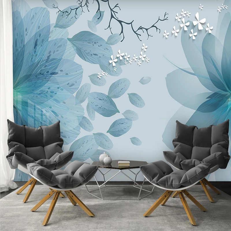 מודרני טפט 3D כחול פרחי פרפר תמונת ציורי קיר טלוויזיה בסלון חדר שינה רומנטי בית תפאורה דביק מדבקות