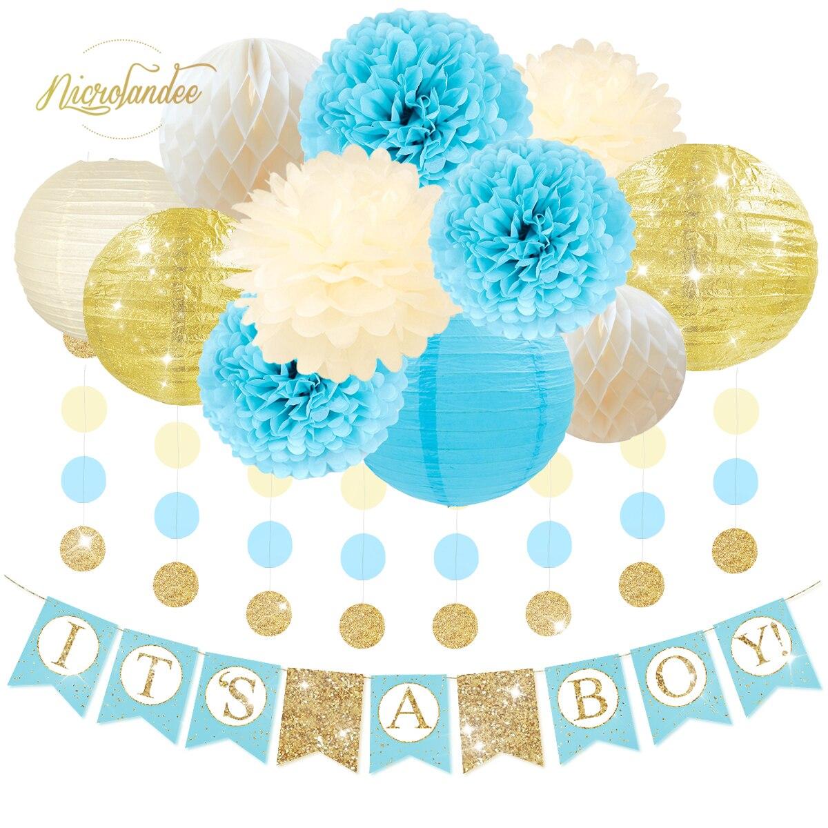 NICROLANDEE 13Pcs Género Revela o Partido DIY Decoração Lanterna De Papel Do Favo de mel Bola Flor PomPom Conjunto Baby Shower Aniversário Decoração