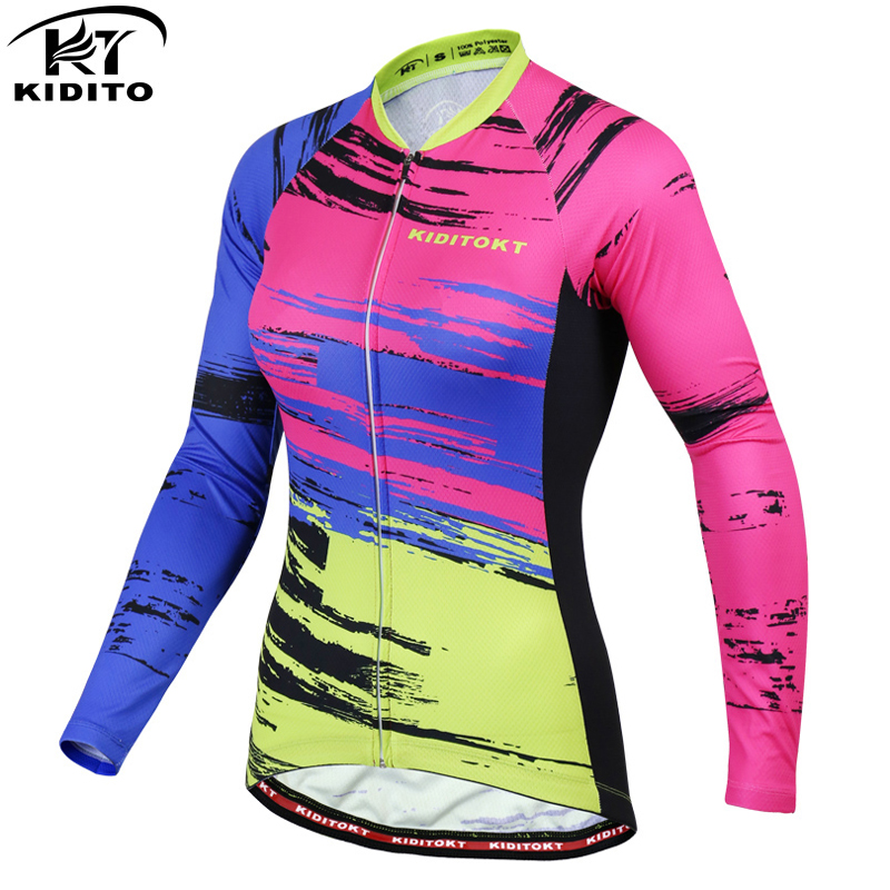 KIDITOKT Woman Racing Bike Wear Clothes Long Sleeve Cycling Jersey MTB Bicycle Clothing Maillot Ropa De Ciclismo Hombre