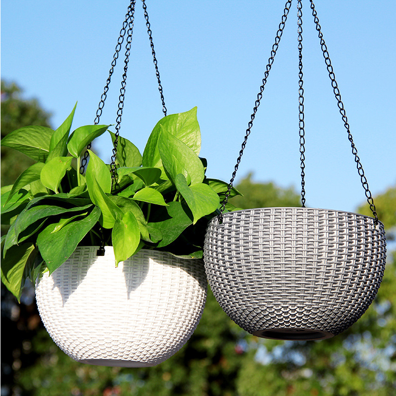 46cm Chain Hanging Planters Flower Pot Basket Plastic Vase Garden Nursery Imitation Rattan Weaving PP Home Decor Balcony Baskets
