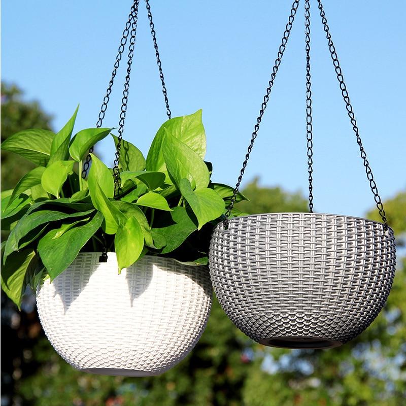 46cm Chain Hanging Planters Flower Pot Basket Plastic Vase Garden Nursery Imitation Rattan Weaving PP Home Decor Balcony Baskets