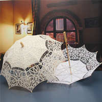 Beige White Lace Parasol Umbrella For Decoration Bridal Wedding Umbrella Vintage Lace Umbrella Princess Gift