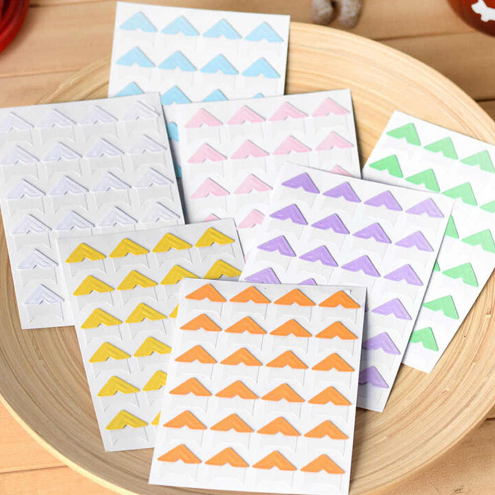 24 Pcs/sheet Hot DIY Cute Pure Candy Color Scrapbooking Corner kraft Paper Stickers for Photo Albums Frame Decoration