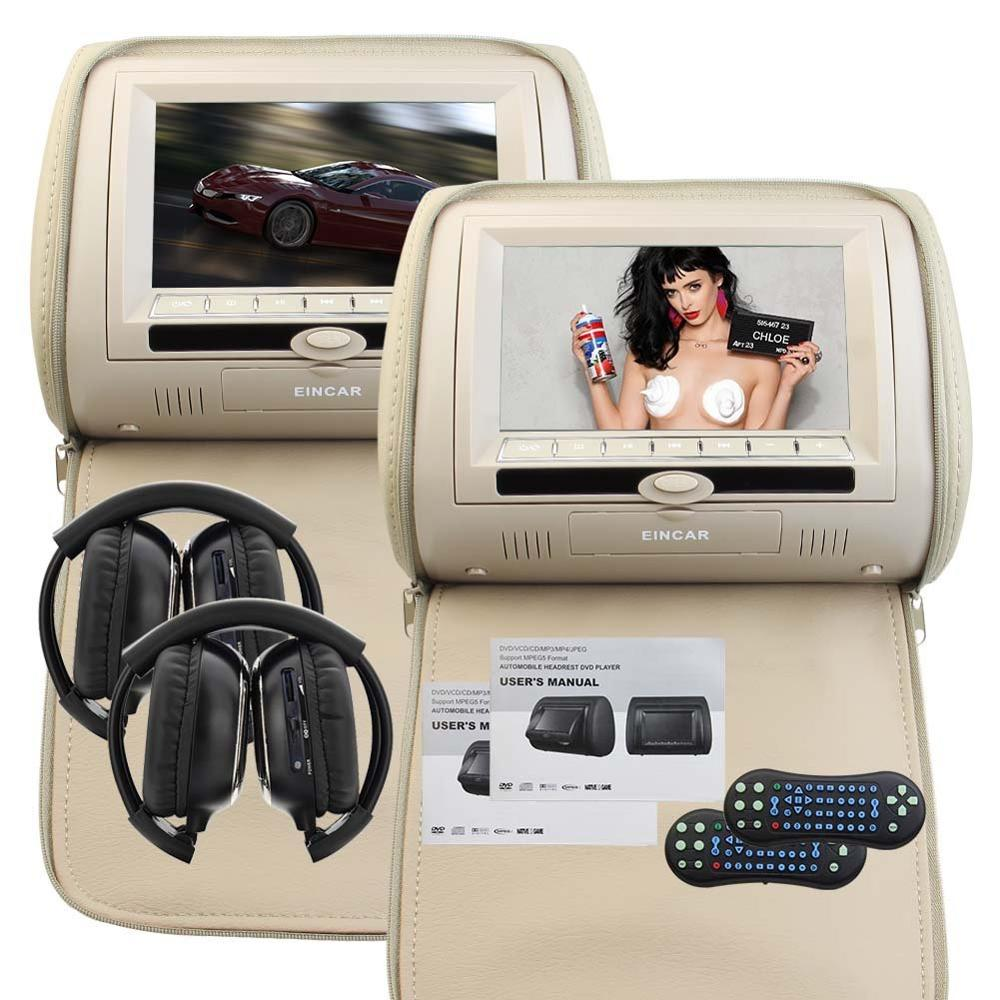 Two of Headrest Car Pillow Monitors with Region Free Car cd DVD player Dual Twin Screens USB SD IR FM Transmitter 2 IR Headphone eincar car 9 inch car dvd pillow headrest two monitor lcd screen usb sd 32 bit game fm ir multimedia player free 2 ir headphones