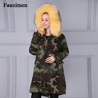 Fashion Woman Real Large Raccoon Fur Collar Hooded Coat Parkas Outwear Detachable Camouflage Black Parkas Faux Fur Winter jacket