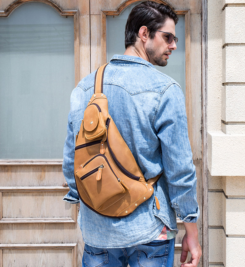 Image 4 - MAHEU Mens Genuine Leather Chest Bag Leather Big Capacity  Crossbody Bag Casual Male Riding Messenger iPad Cell Phone Sling  Bagchest bagbag casualmessenger bag