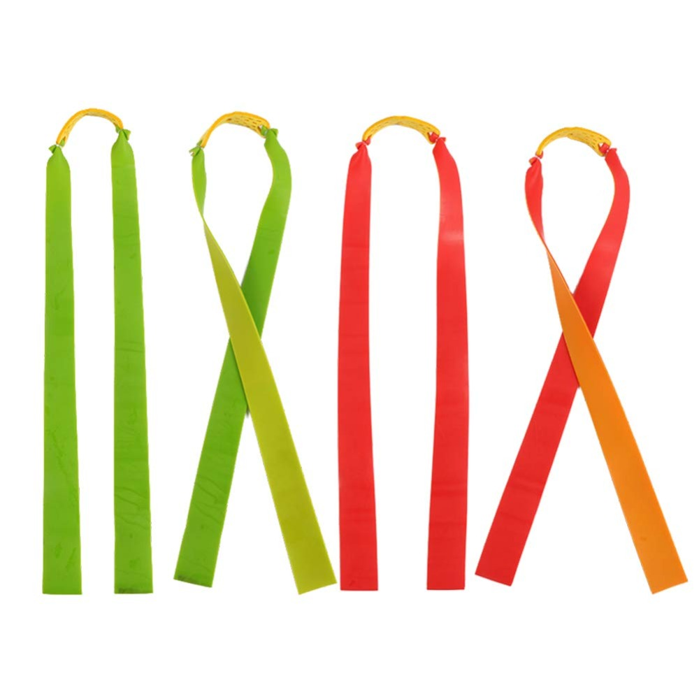 5pcs Slingshot Powerful Elastic Flat Rubber Band Practical Hunting Sports Catapult Kit Set Slingshot Rubber Random Color