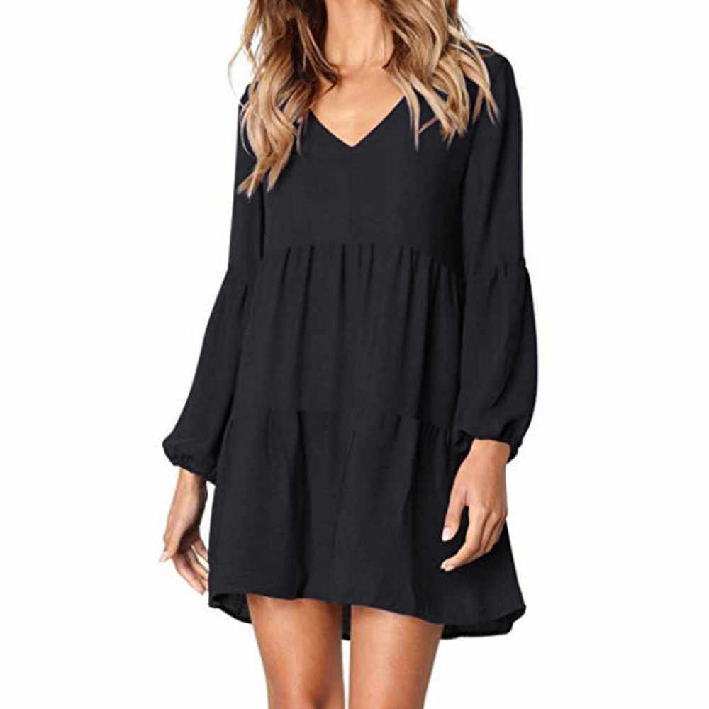 Casual sexy dress Spring Summer 2019 New fashion Women Solid Lantern Long Sleeve party dress V-Neck Draped Knee-Length Dress