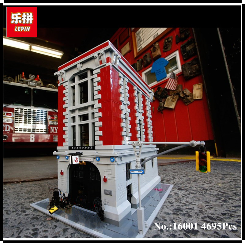 IN STOCK LEPIN 16001 4695Pcs Ghostbusters Firehouse Headquarters Model Building Kits Model set Compatible With 75827 4695pcs lepin 16001 city series firehouse headquarters house model building blocks compatible 75827 architecture toy to children