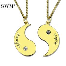 9552271300 Paired Couple Necklace Custom Name BirthStone Necklaces Gold Color Jewelry Yin  Yang Pendants Choker Chain Collares