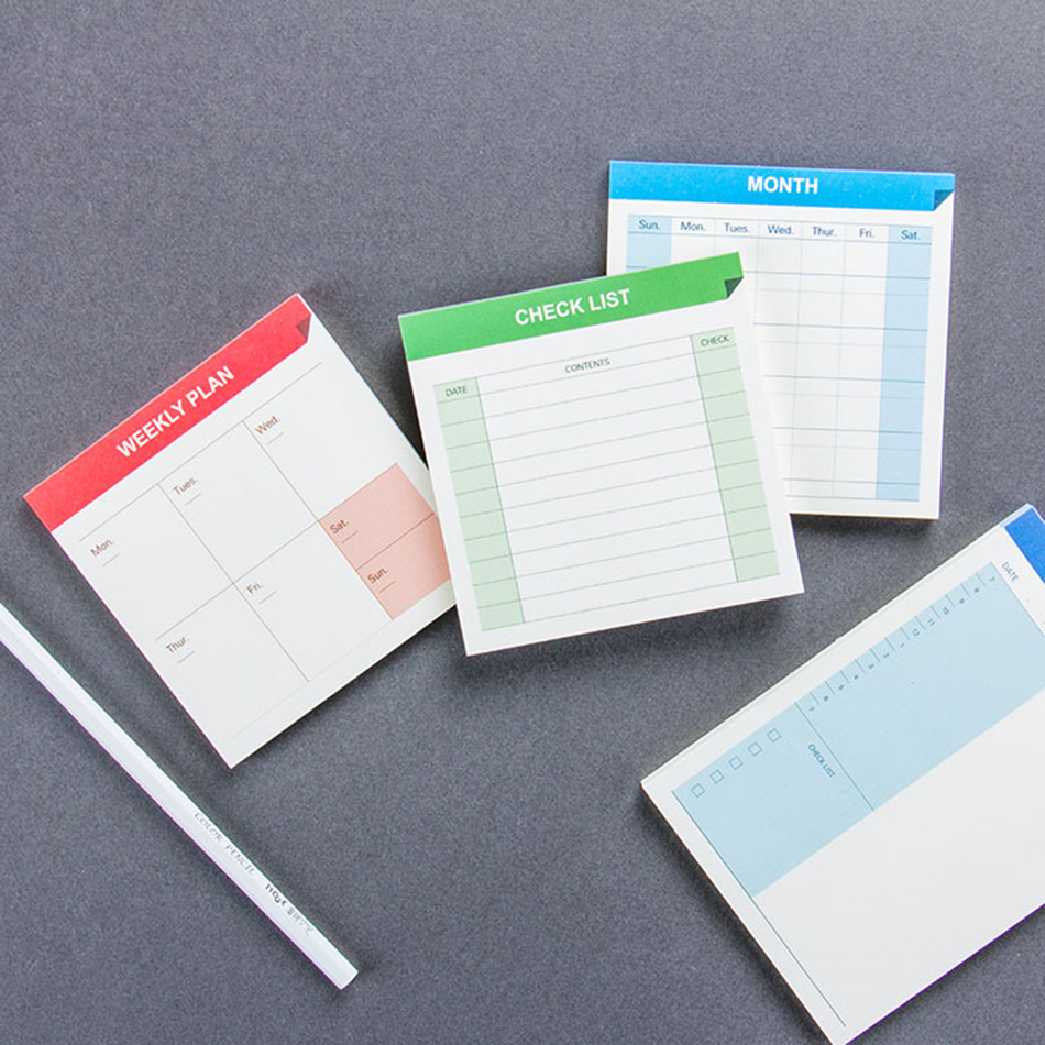 Daily schedule Weekly Month Planner Check List Portable Small Book Memo Pad Sticky Notes Paper Stickers Stationery School Supply kitred5f740unv21200 value kit rediform guest check book red5f740 and universal copy paper unv21200