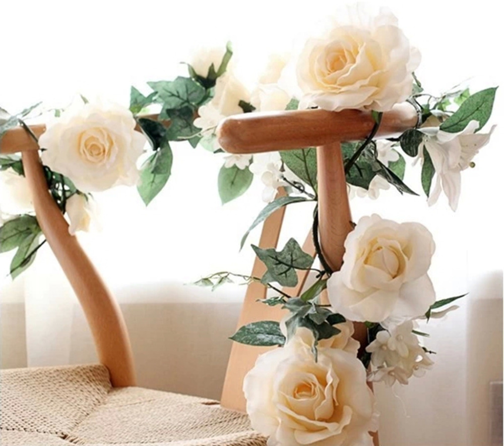 Artificial rose lily cherry vine home decor silk flowers for Artificial flowers for wedding decoration