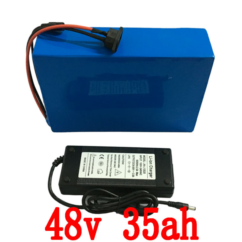Free customs duty 48V 35AH 2000w  electric bike battery  lithium battery  use for Sanyo 3500mah cell 50A BMS and 5A charger free customs duty 36v 28ah battery pack 1500w 36 v lithium battery 28ah use samsung 3500mah cell 50a bms with 2a charger
