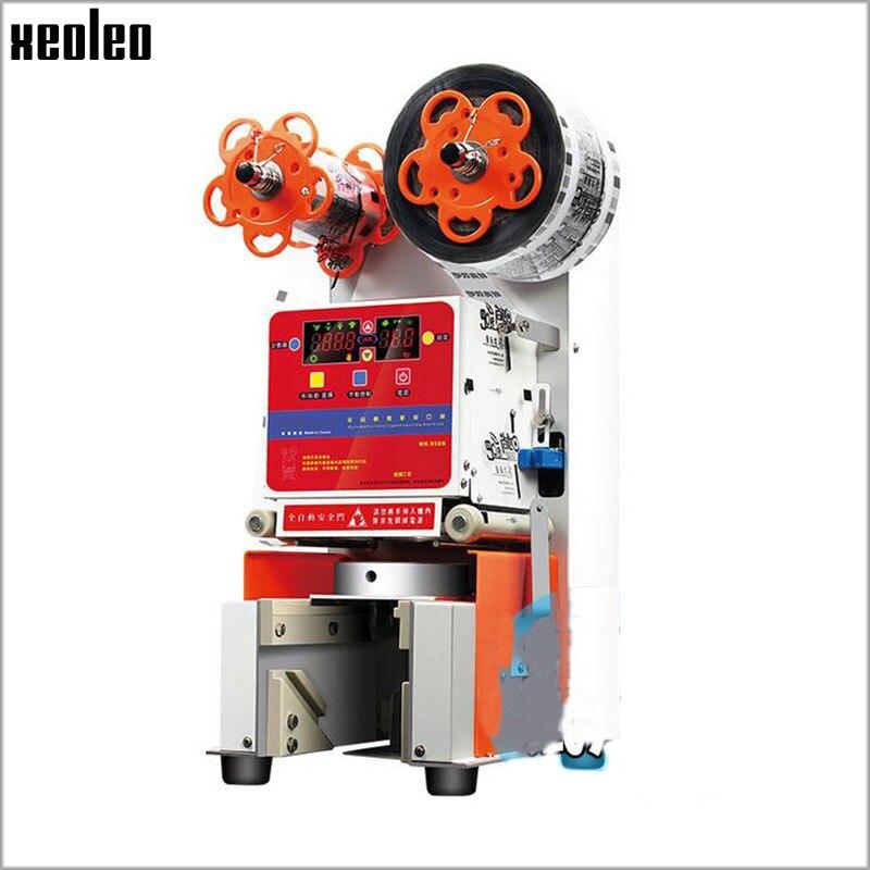 Máquina de sellado de taza automática Xeoleo 95/90mm sellador automático de taza de té de burbujas sellado de máquina PP/PC/ PE taza 460 tazas/h 220 V/50-60 HZ