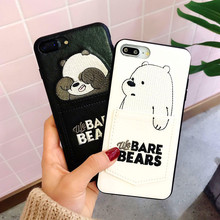 luxury Pu Leather Cartoon Bear Phone Case for IPhone 7/6s/8 8plus x 6splus Soft Tpu Cover With Card Pocket Bags Fundas