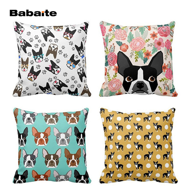 Babaite Boston Terrier Cute Vintage Flower Faces Dog Merry Christmas Design Simple Square Zippered Throw Pillow Cover