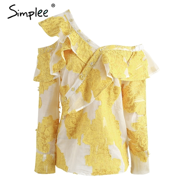 Simplee Cold shoulder blouse shirt women tops Summer cotton blouses chemise Yellow ruffle striped long sleeve shirt women tops