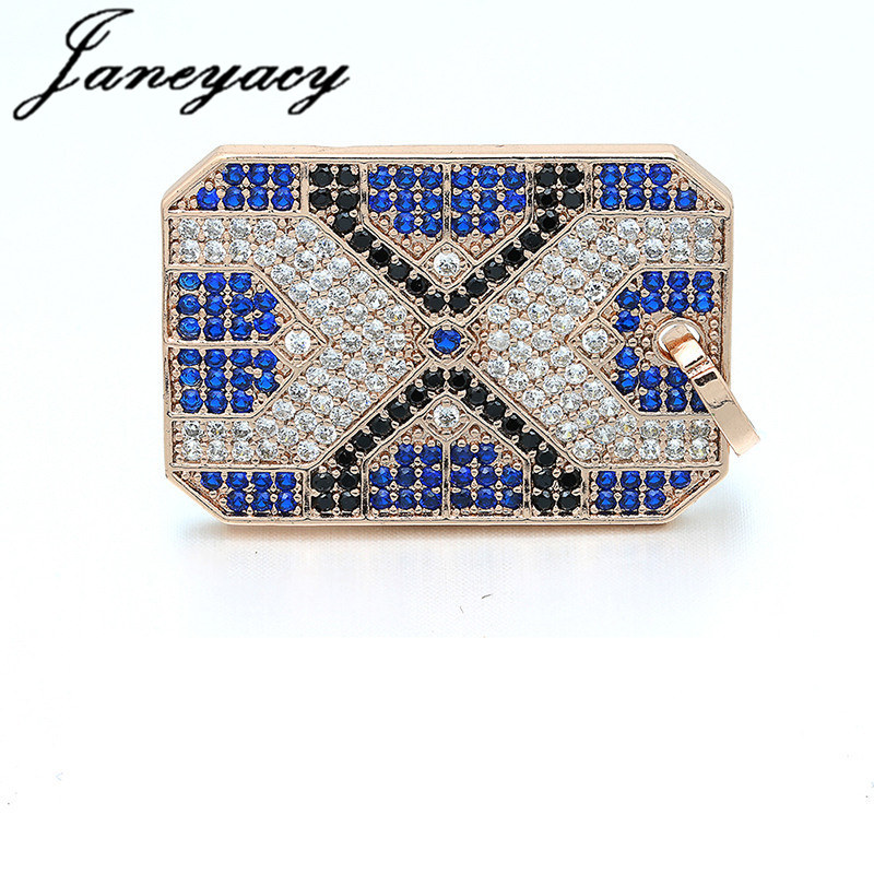 Fashion Brass Cubic Rectangle Pendant Accessories Trend Round Colorful Rhinestones DIY Earrings Necklace Accessories Production