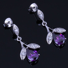 Resplendent Plant Purple Cubic Zirconia White CZ 925 Sterling Silver Drop Dangle Earrings For Women V0729