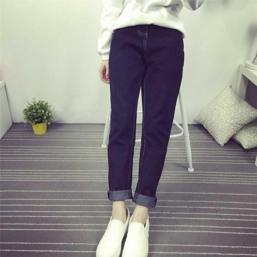 #2030 2016 Loose Korean Black jeans Harajuku Harajuku Ladies jeans Pantalon jean femme S-L Denim jeans womens Vaqueros mujer