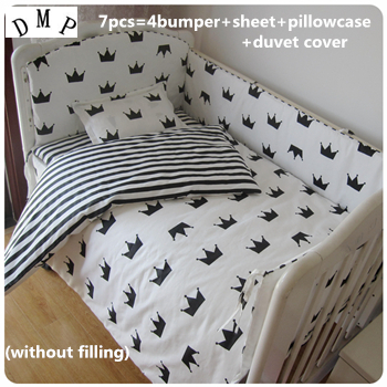Discount! 6/7pcs Baby Bedding Set Cotton Baby Boys Girls Nursery Bedding Cot Bedding,120*60/120*70cm